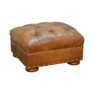 Quality Brown Tufted Leather Ottoman