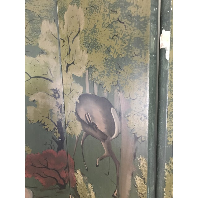 Painted Four Panel Screen With Landscape and Deer For Sale - Image 9 of 13