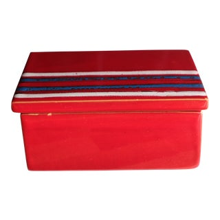Bitossi Red Striped Italian Art Pottery Box by Raymor For Sale