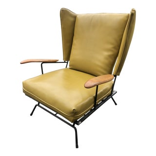 Adrian Pearsall for Craft Associates Iron Frame Leather Chair For Sale