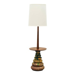 California Studio Ceramic Drip-Glaze Floor Lamp with Teak Table, 1960s For Sale