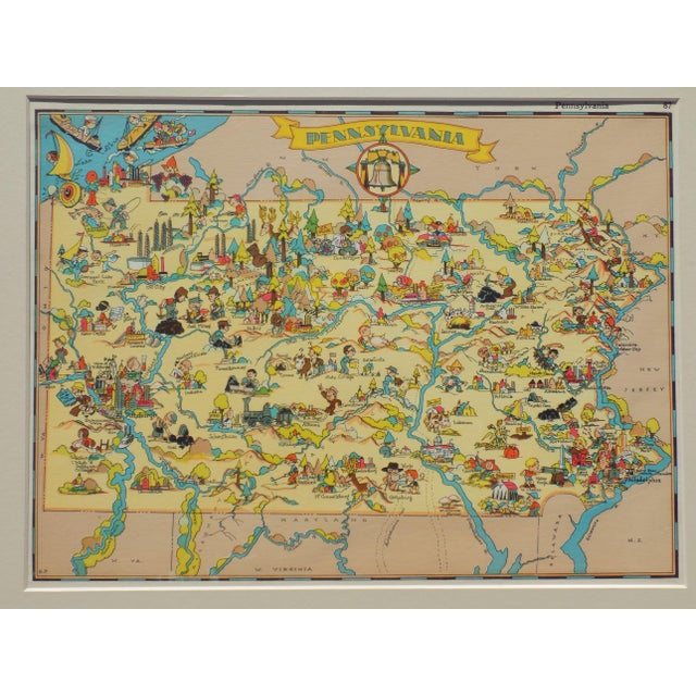 """Original map of Pennsylvania from """"Our USA - A Gay Geography"""" by Taylor, Little, Brown & Co. of Boston, 1935. Dimensions:..."""