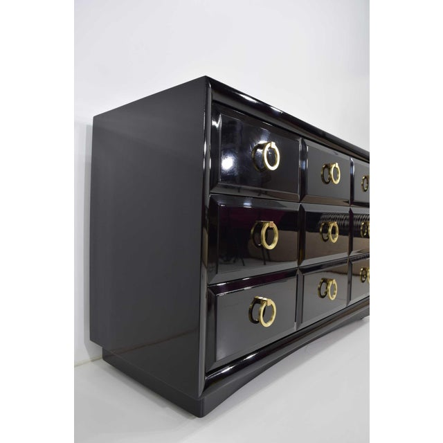 Robsjohn-Gibbings for Widdicomb Chest of Drawers in Black Lacquer For Sale In Dallas - Image 6 of 13