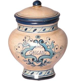 Italian Ceramic Origano Marjoram Canister For Sale