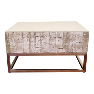 Modern Industrial Concrete & Chrome Coffee Table For Sale