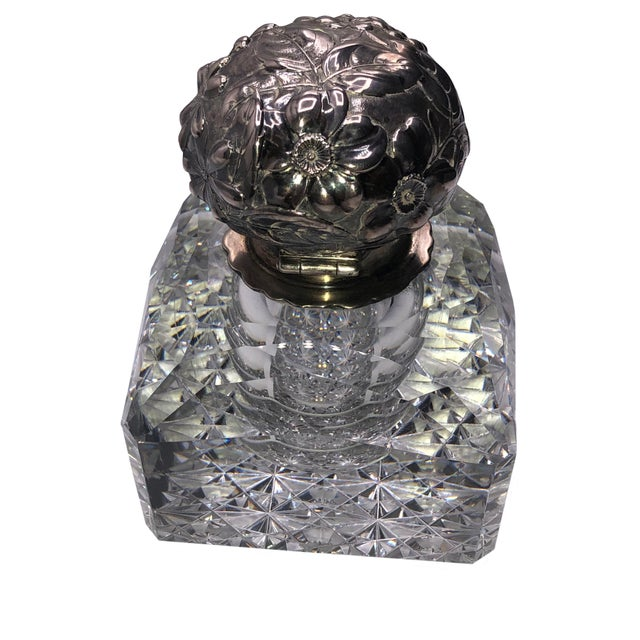Silver Antique Cut Glass and Sterling Inkwell For Sale - Image 8 of 8
