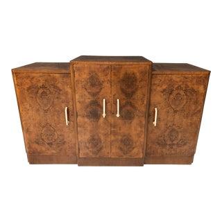 20th Century Art Deco Burl Credenza Cabinet For Sale