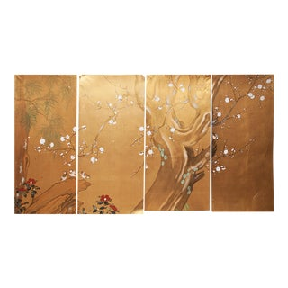 C.1960s Japanese Silk Panels - Set of 4