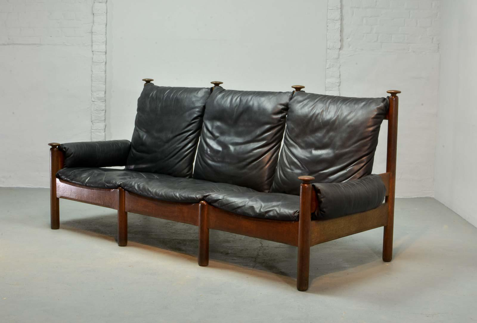 Contemporary Sturdy Mid Century Smooth Black Leather Scandinavian 3 Seat  Sofa, 1960s For