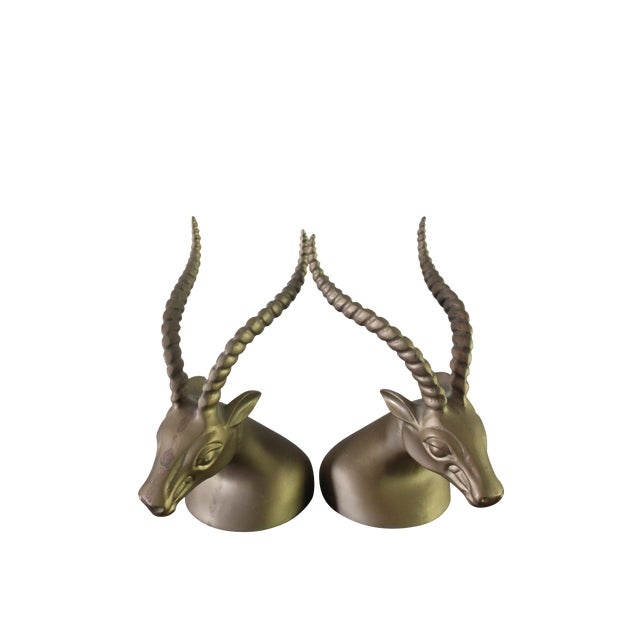 Vintage Brass Antelope Bookends - Set of 2 - Image 1 of 6