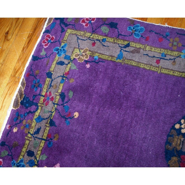 1920s, Hand Made Antique Art Deco Chinese Rug 2.10' X 4.9' For Sale - Image 9 of 13