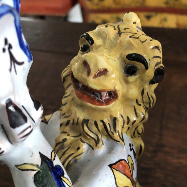 Ceramic Mid 19th Century French Victorian Quimper Faience Ceramic Heraldic Lion Candlesticks - a Pair For Sale - Image 7 of 13