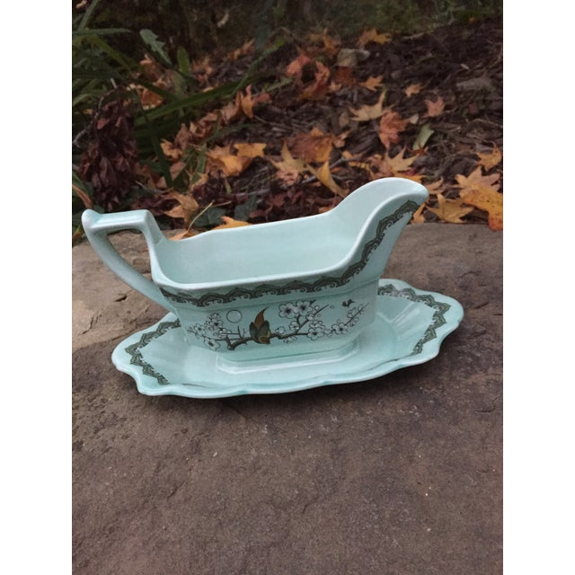 """Stunning Adams England Celedon Bird Blossom Gravy Boat With Attached Underplate Measures 9""""'x 5"""" x 4.5"""" tall"""