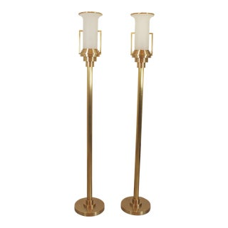 Pair of Modern Brass Torchere Floor Lamps For Sale