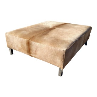 Contemporary Gambrell Renard Classic Cowhide Ottoman For Sale