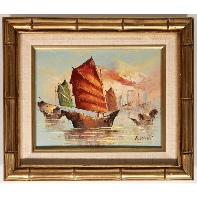 Vintage Coastal Nautical Sailboat Oil Painting For Sale - Image 10 of 11