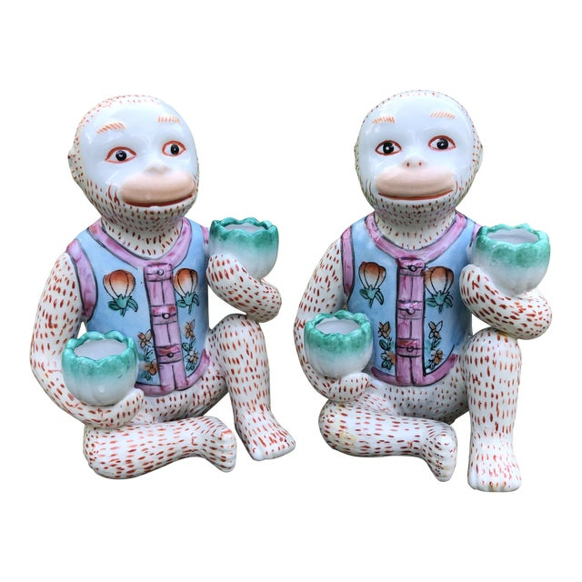 1980s Chinoiserie Monkey Candle Holder Figurines - a Pair For Sale