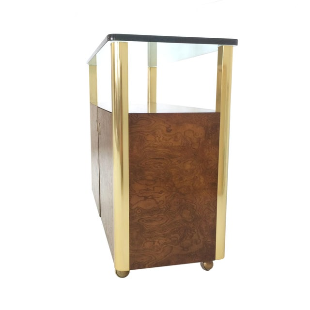Brass Burled Wood & Brass Console by Century Furniture Company For Sale - Image 7 of 10