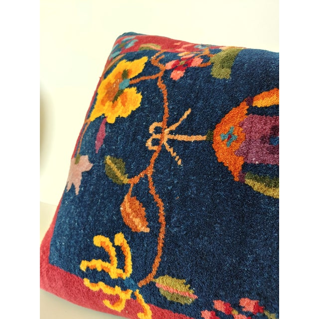 1920s Chinese Art Deco Nichols Rug Custom Pillow For Sale - Image 11 of 13