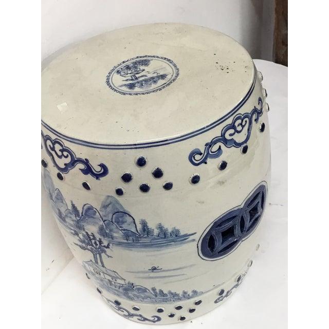 Asian Blue & White Garden Stool For Sale - Image 3 of 3