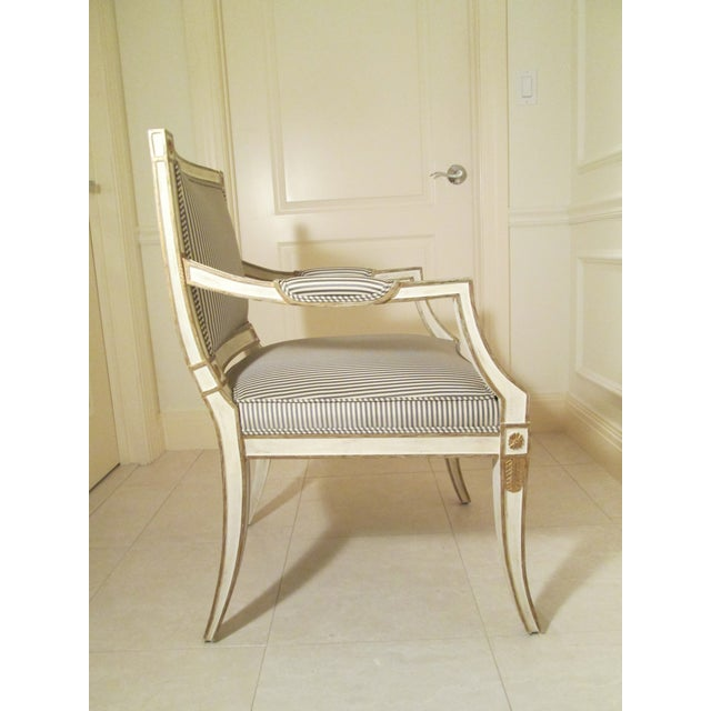 Minton-Spidell Neoclassical Armchair in Striped Silk For Sale - Image 4 of 11