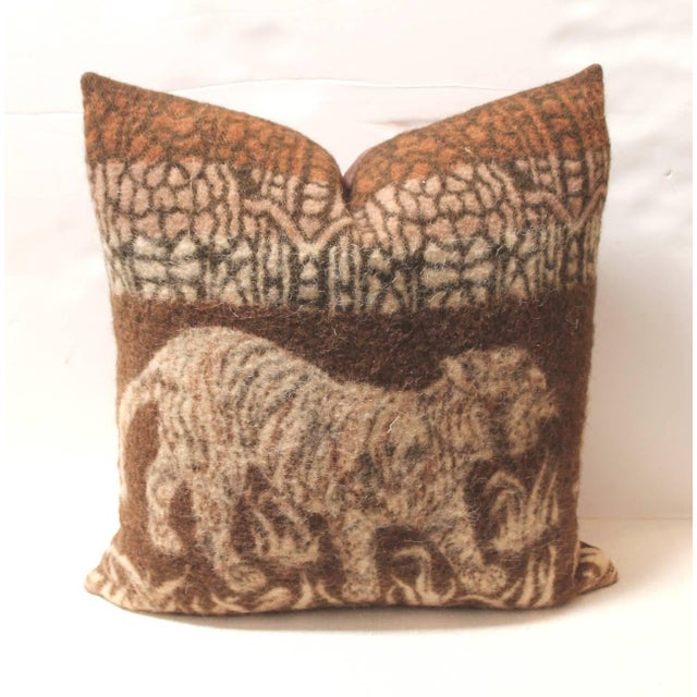 Tribal Pictorial Tiger Blanket Pillow For Sale - Image 3 of 4