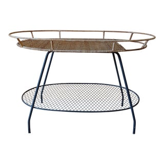 Vintage Arthur Umanoff Style Rattan and Wrought Iron Bar Cart For Sale
