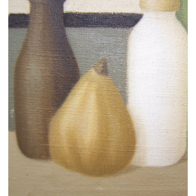 Mid-Century Green Bottles Still Life Painting - Image 6 of 8