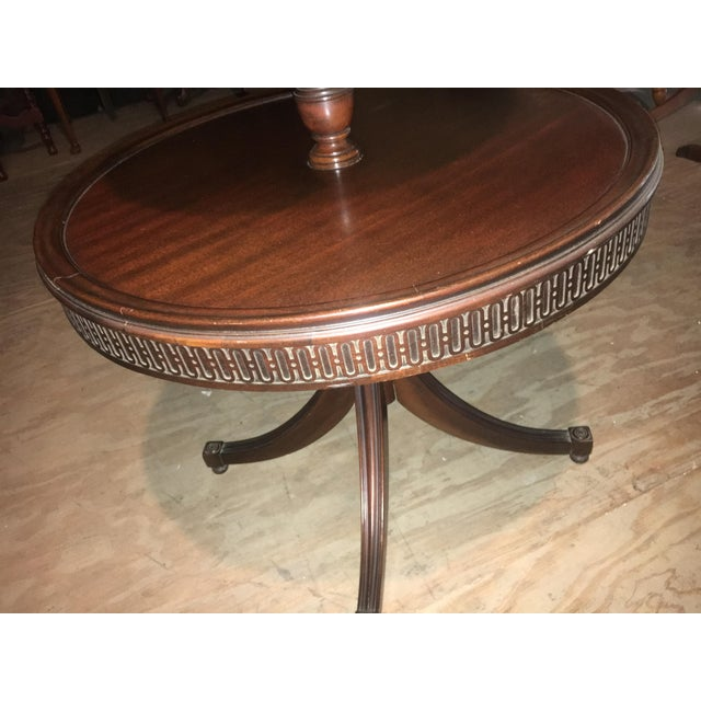 Vintage Leather Top 2 Tier Dumbwaiter Round Side Table - Image 7 of 10