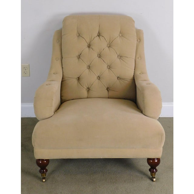 Sherrill English Regency Style Tufted Pair Lounge Chairs For Sale - Image 4 of 12