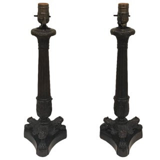 Empire Style Bronze Column Candlestick Lamps - a Pair