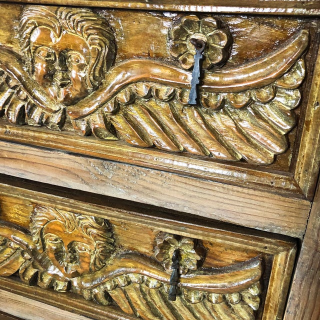 Early 20th Century Antique Mexican Hand Carved Wood Sideboard With Cherubs and Green Man Motif For Sale - Image 5 of 11