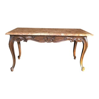 Louis XV Style Carved French Coffee Table With Marble Top For Sale