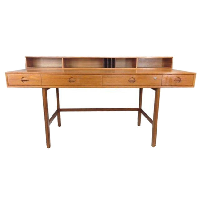 Jens Quistgaard Flip-Top Console Desk in Teak For Sale