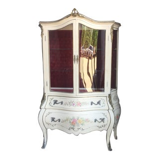 Antique Hand Painted Tufted Vitrine For Sale