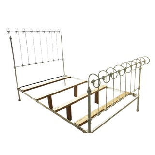 Antique Iron Sleigh Queen Bed Frame For Sale