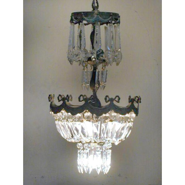 French Mid Century Modern Neoclassical Crystal And Silvered Bronze Chandelier For Image 4