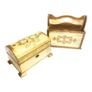 1960s Hollywood Regency Florentine Style Wooden Footed Chest and Letter Holder - 2 Pieces For Sale