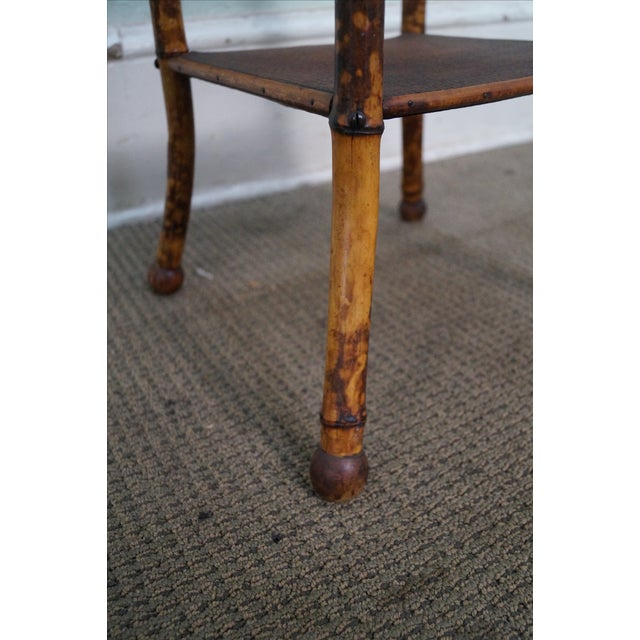 Antique Burnt Bamboo Rattan Lift Top Side Table - Image 8 of 8