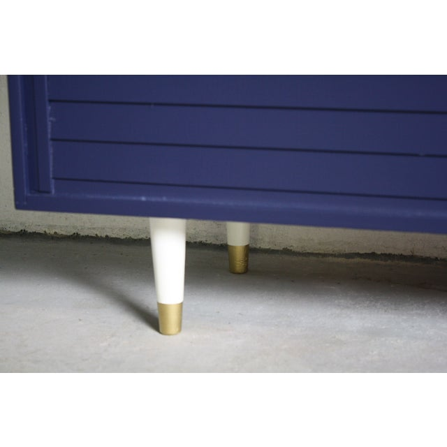 1960's Navy Cabinet W/ White & Gold Tapered Legs - Image 11 of 11