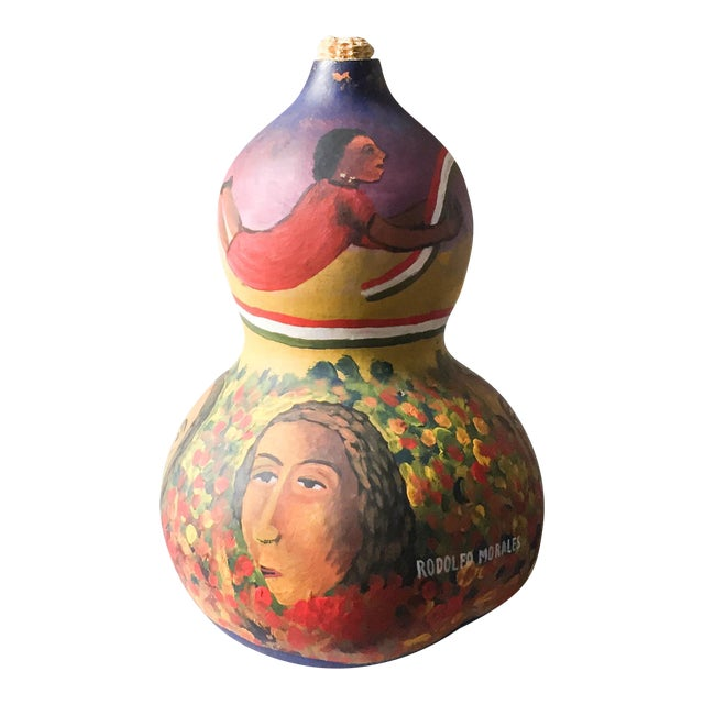 Mid Century Listed Artist Rodolfo Morales - Painted Gourd - Image 1 of 7