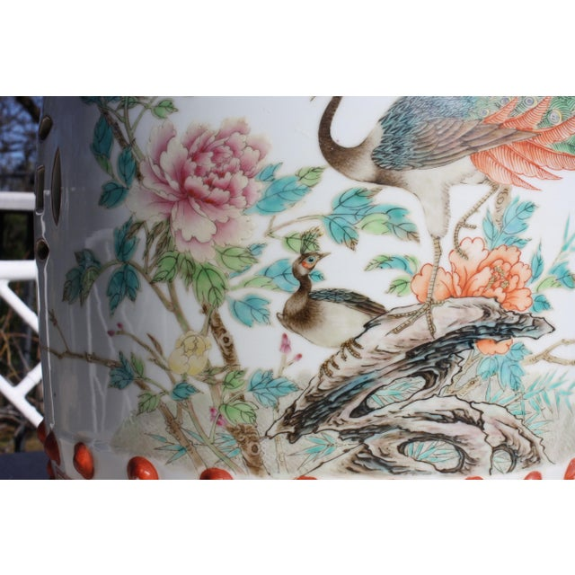 Chinese Famille Rose Porcelain Peacock Garden Seat For Sale In Dallas - Image 6 of 13