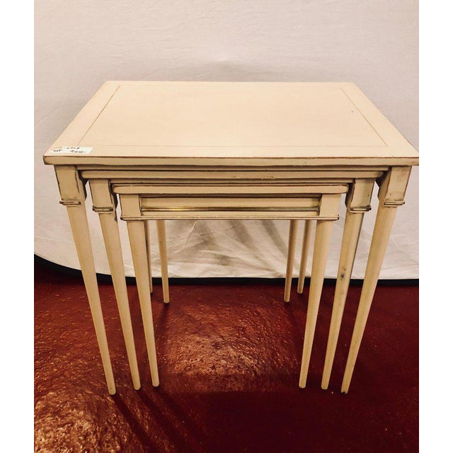 Hollywood Regency Set of Three White Painted Nesting / Stacking Tables Attributed to Jansen For Sale - Image 3 of 13