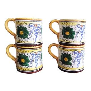 Vintage Italian Labor Ceramiche Deruta Ceramic Mugs - Set of 4 For Sale