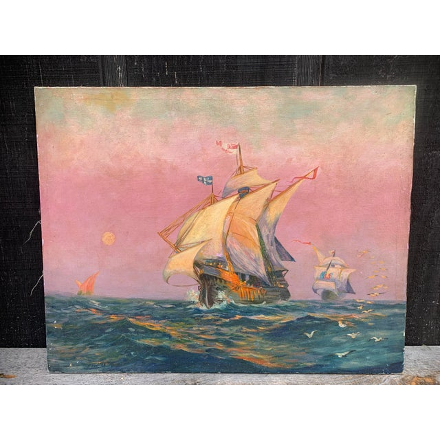 Tall Ship Oil Painting Signed C. Freitas For Sale - Image 12 of 12
