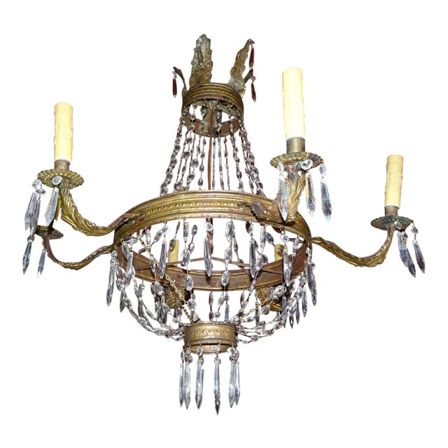 19th Century French Tole and Crystal Chandelier For Sale