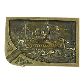 19th Century English Brass Steamliner Ashtray For Sale