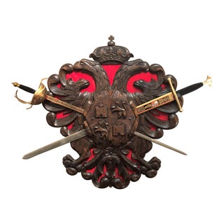 "Antique Carved Wood Decorative ""Coat of Arms"" with Swords. For Sale"