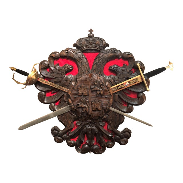 """Antique Carved Wood Decorative """"Coat of Arms"""" with Swords. For Sale"""