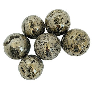 "Large 3"" Diameter Polished Pyrite Spheres For Sale"